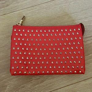 ZARA red silver studs vegan leather wallet clutch
